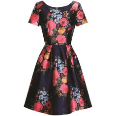 Chi Chi London floral print midi dress ($52) ❤ liked on Polyvore featuring dresses, clearance, navy, fit & flare dress, navy dress, black floral dress, day to night dresses and floral midi dress
