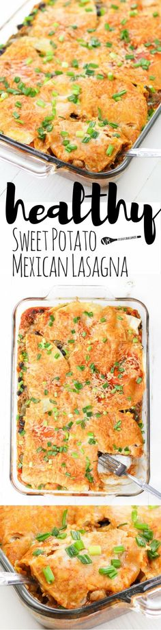 Sweet Potato Mexican Lasagna recipe is where comfort food meets healthy food. Sweet potato, black beans, and corn tossed in a spicy -sweet taco sauce layered between fluffy corn tortillas. Its a weeknight dinner with leftovers for lunch kind of heaven. (Gluten-Free, Dairy-Free, Vegan)