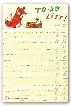 To Do List notepad: FOX, $8 at http://boygirlparty.etsy.com – artwork ©susie ghahremani / boygirlparty®
