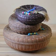 Antique Woven Lidded Basket Trio now featured on Fab.