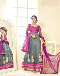 Gray Soft Net Ankle Length Anarkali Suit 61249