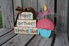 Personalized Birthday Wood Blocks    Happy by jodyaleavitt on Etsy, $29.95