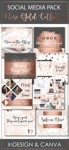 This Rose Gold Collection Social Media Pack is just stunning!  Take your brand or blog to the next level in minutes.  Fully editable InDesign Templates and Canva Templates that include sizes for Facebook, Pinterest and Instagram!  PDF Instructions for both Adobe InDesign and Canva Included!  #template #SocialMediaTemplates