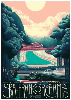 2019 Belgian GP ~ This Fantastic Mercedes Benz poster for the Belgian Grand Prix circuit can be yours from with a donation going to Cancer Research U. with every sale. Art Deco Posters, Car Posters, Spa, Mercedes Petronas, Grid Wallpaper, Belgian Grand Prix, Thing 1, Epic Art, Vintage Racing