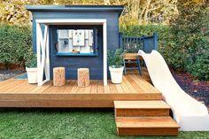Kids Backyard Playground, Backyard Playhouse, Backyard For Kids, Backyard Play Areas, Kids Cubby Houses, Kids Cubbies, Play Houses, Cubby House Plans, Outdoor Play Spaces