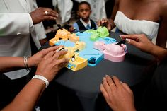 Hungry Hungry Hippos is an Offbeat Bride favorite — it's often used as centerpieces as well as entertainment. Photo by The Image is Found Indoor Wedding Games, Wedding Reception Games For Guests, Wedding Receptions, Reception Ideas, Reception Activities, Wedding Activities, Renaissance Wedding, Harlem Renaissance, Wedding Entertainment