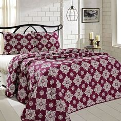 Beautiful rich color and intricate medallions are what make up our Adelaide Boysenberry Queen Quilt Bundle (Quilt and 2 Standard Shams) - Primitive Star Quilt Shop. A perfect set for a bedroom makeover. https://www.primitivestarquiltshop.com/collections/adelaide-boysenberry-bedding #primitivecountrybedroomsbeddingandaccessories