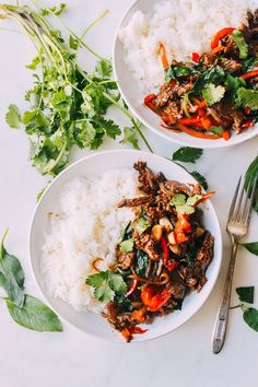 Thai Basil Beef Pad Gra Pow / The Woks of Life (oil, beef, cornstarch, garlic, red bell pepper, onion, soy sauce, dark soy sauce, oyster sauce, fish sauce, thai basil leaves, Cilantro)