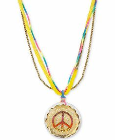 Betsey Johnson Gold-Tone Colorful Peace Sign Long Pendant Necklace