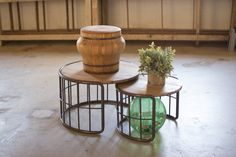 We all need these round nesting tables in our family rooms. The slat wood top and metal pipe base make these tables sturdy and able to endure the strains of fam