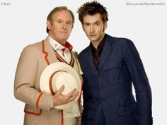Doctor Number 5 (Peter Davison) and Doctor Number 10 (David Tennant). David Tennant has a baby with Peter Davison's daughter.