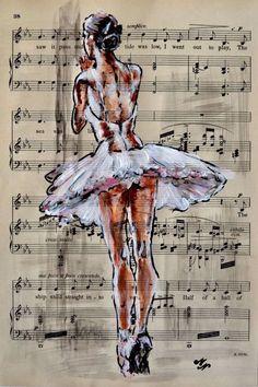 Training -Vintage Music Page - Full-frontal image, unframed - - Ballerina Painting, Ballerina Art, Ballet Art, Ballet Dance, Ballet Shoes, Ballet Drawings, Dancing Drawings, Ballet Pictures, Dance Pictures