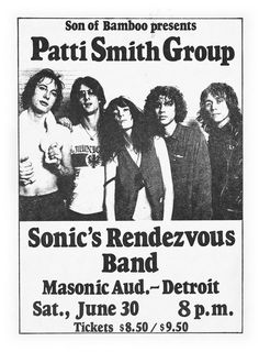 The Patti Smith Group rocked the Masonic Auditorium in Detroit in 1978
