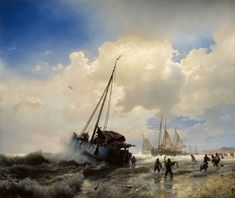 "catonhottinroof: "" Andreas Achenbach - Sailing Ships on a Beach, 1851 "" Old Paintings, Seascape Paintings, Online Katalog, Flying Dutchman, Black Sails, Italy Travel, Strand, Sailing Ships, Ocean"