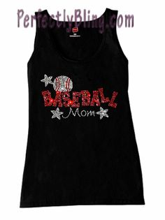 Rhinestone Baseball Mom Stars Tank Top - Black $19.99