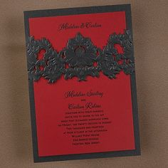 THIS can be set up as a GORGEOUS #Quinceanera invite.... Opulent Filigree Invitation - Onyx with Merlot by www.penandparchment.carlsoncraft.com Contact https://www.facebook.com/pages/Pen-and-Parchment/12652553809 for help ;)