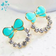 2f701beb0be6 Free Shipping Wholesales 2017 New Design Korean Version Candy Colored Bow  Inlaid Crystal Earrings Jewelry-in Stud Earrings from Jewelry   Accessories  on ...