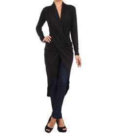 Take a look at the Black Surplice Drape Tunic on #zulily today!