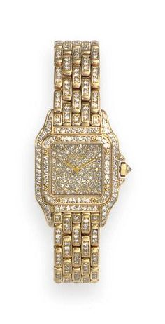 """A DIAMOND AND GOLD """"PANTHERE"""" WRISTWATCH, BY CARTIER"""