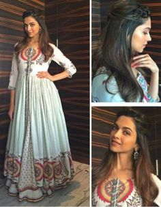 Deepika Padukone in a designer white and red anarkali suit. Pakistani Dresses, Indian Dresses, Indian Outfits, White Anarkali, Anarkali Suits, Patiala Salwar, Punjabi Suits, Anarkali Gown, Saree