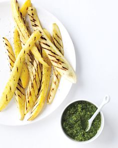 Grilled Squash with Walnut-Parsley Pesto - Martha Stewart Recipes - JUST USE SHEEP PARMESAN CHEESE IN PLACE OF COW