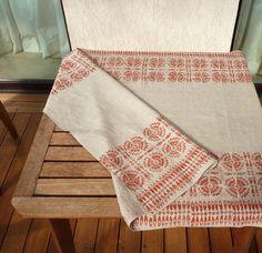 Main imprimé nappe lin lino bloc imprimé avec Sweet par kaupole Towel, Toy Block
