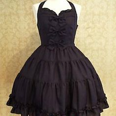Sleeveless Short Black Cotton Sweet Lolita Dress with Bow