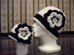 Matching Mom/Toddler/Child Hats Black White by MarlowsGiftCottage, $36.00