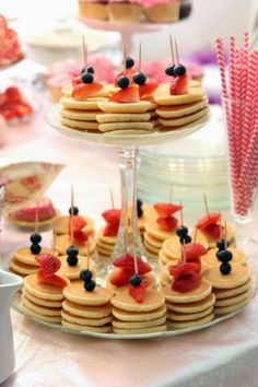Brunch recipe, mini pancake skewers, fruit and pancakes More