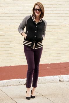 Purple Cords, Varsity Sweater, @Jess Liu Quirk | What I Wore, What I Wore, Jessica Quirk, Indiana Style, Hoosier Style, Midwest Style, Style Blogger, Fashion B...