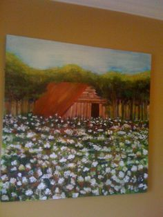"""Paintings by Kim Dougherty, local Memphis artist.  """"Rusted"""" - sold  (barn with rusted tin roof and cotton fields)."""