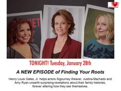 Catch Secrets & Lies Episode 6 of Finding Your Roots tonite on PBS! helps actors Sigourney Weaver, Justina Machado and Amy Ryan unearth surprising revelations about their family histories, forever altering how they see themselves. Finding Your Roots, Finding Yourself, Secrets And Lies, Sigourney Weaver, Family History, Genealogy, Gates, Jr, The Secret