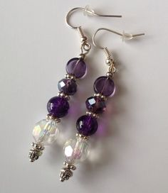 Purple and crystal earrings.