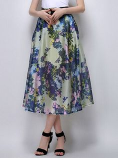 #Fashion  Summer Style : Yellow Floral High Waist Flared Midi Skirt | Choies
