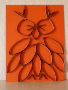 Owl wall art Toilet Paper Roll Art TP Tube idea