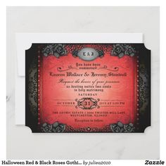 Halloween Red & Black Roses Gothic Wedding Invite Gothic Wedding Invitations, Wedding Invitations Australia, Halloween Wedding Invitations, Unique Invitations, Invitation Envelopes, Floral Wedding Invitations, Invite, Halloween Bride, Romantic Wedding Receptions