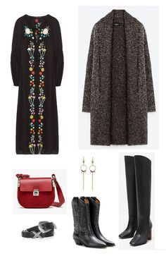 Time for Fashion » Style Consultancy. Black floral embroidery midi dress+black cowboy style midi boots or knee-high ones+grey tweed coat+black belt+red crossbody bag+long earrings. Winter Casual Outfit 2017