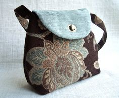 Handmade Tapestry Fabric Brown and Emerald Handbag by VolatilBags, $46.00