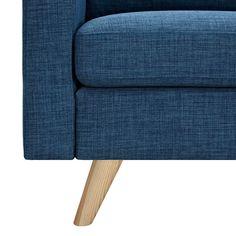 Lowest price online on Nye Koncept Stone Blue Uma Armchair Walnut Finish, Neutral Tones, Grey Fabric, Clean Design, Danish Design, Mid-century Modern, Contemporary, Plush, Stone