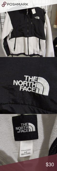 """The North Face """"Denali"""" Fleece Jacket! White & Black Denali Jacket from North Face (Size Small), in fair condition. We love to negotiate, so feel free to contact us!  Shipping is next business day.  Check out the rest of our closet. Thanks! The North Face Jackets & Coats"""