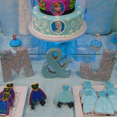 Pretty cookies at a Frozen birthday party! See more party ideas at CatchMyParty.com!