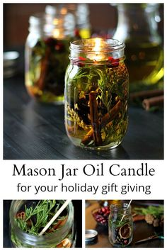 This Mason Jar Oil Candle Lamp tutorial uses beautiful pine cones, evergreens, and cinnamon sticks, combined with essential oils make great inexpensive gifts for the holidays. Oil Candles, Mason Jar Candles, Mason Jar Lighting, Painted Mason Jars, Mason Jar Diy, Mason Jar Crafts, Diy Home Decor Projects, Diy Projects To Try, Craft Projects