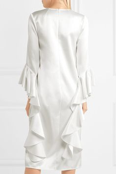 Ivory satin-crepe Concealed hook and zip fastening at back 100% polyester Dry clean