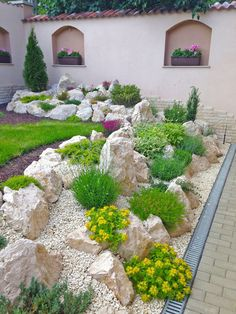25 Most Creative And Inspiring Rock Garden Landscaping Ideas Cheap Landscaping Ideas, Landscaping Supplies, Landscaping With Rocks, Front Yard Landscaping, Palm Trees Landscaping, Acreage Landscaping, Country Landscaping, Outdoor Landscaping, Rockery Garden