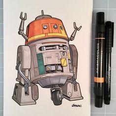 "darrencalvert: ""March of Robots Day Chopper from Star Wars Rebels "" Star Wars Boba Fett, Star Wars Rebels, Star Wars Clone Wars, Star Wars Art, Lego Star Wars, Star Trek, Star Wars Rebel Tattoo, Comic Book Tattoo, Star Wars Drawings"
