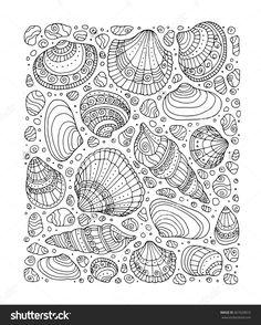 Seashell Pattern Art Background. Vector Illustration. Zentangle. Coloring Book Page For Adult. Hand Drawn Artwork. Beach Concept For Restaurant Menu Card, Ticket, Branding, Logo Label. Black, White - 367020815 : Shutterstock