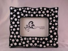 Black with White Dots Wavy Frame by chutneyblakedesigns on Etsy, $29.50