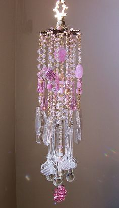 Pink and Gold Princess Antique Crystal Flowers Wind Chime. On layaway Crystal Wind Chimes, Glass Wind Chimes, Diy Wind Chimes, Mobiles, Sun Catchers, Hanging Crystals, Pink And Gold, Swarovski, Glass Art