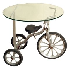 DIY crafts and recycle Upcycling Ideas kids bicycle table glass top