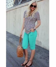 AMARA | Boutique, Mint and leopard, long shorts, Hobo bag, Steve madden sandals, Spring fashion, Summer fashion